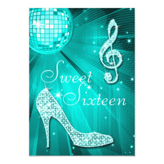 Teal Disco Ball and Sparkle Heels Sweet 16 Card