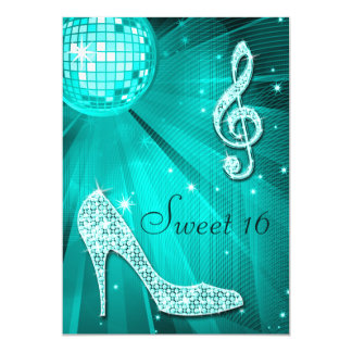 Teal Disco Ball and Sparkle Heels Sweet 16 5x7 Paper Invitation Card
