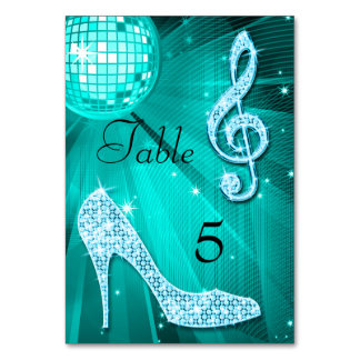 Teal Disco Ball and Stiletto Shoe Double Sided Card
