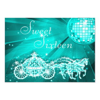 Teal Disco Ball, Princess Coach & Horses Sweet 16 Card