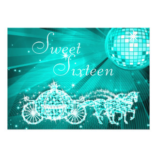 Teal Disco Ball, Princess Coach & Horses Sweet 16 Personalized Announcements
