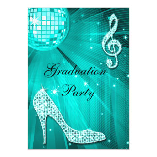 Teal Disco Ball Sparkle Heels Graduation Card