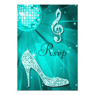 Teal Disco Ball Sparkle Heels RSVP Personalized Invites