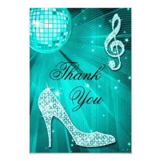 Teal Disco Ball Sparkle Heels Thank You Card