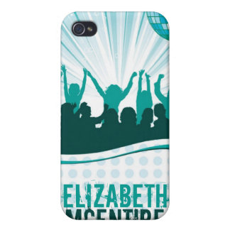 Teal DJ Spin Party Girl Personalized iPhone 4 Case