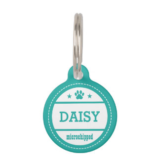 Teal Dog Name Microchipped Call My People Pet Name Tag