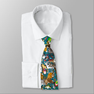 "Teal ""Dogs, Cats & Birds"" Tie"