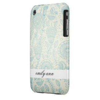 Teal Doodle Flowers and Birds iPhone 3 Case-Mate Cases