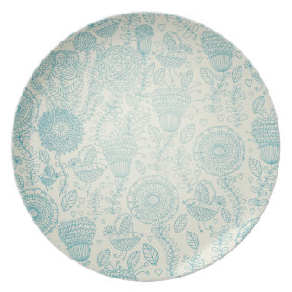 Teal Doodle Flowers and Birds Melamine Plate
