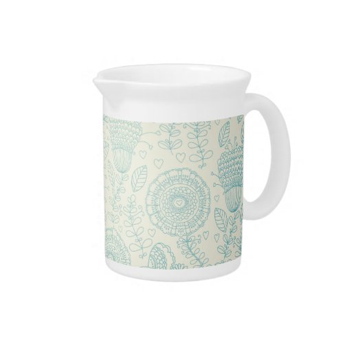 Teal Doodle Flowers and Birds Pitcher
