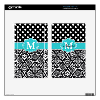 Teal Dots Damask Chevron Personalized Case Decal For Kindle Fire