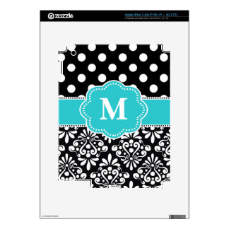 Teal Dots Damask Chevron Personalized Case iPad 3 Decals