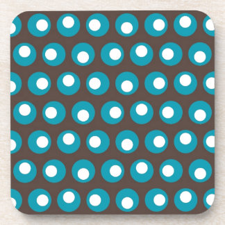 Teal Dots Drink Coaster