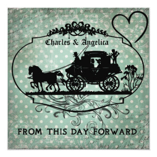 """Teal Dotted From This Day Forward Wedding Invite 5.25"""" Square Invitation Card"""