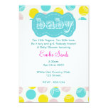 "Teal Dotty gender neutral Baby Shower Invitation 5"" X 7"" Invitation Card"