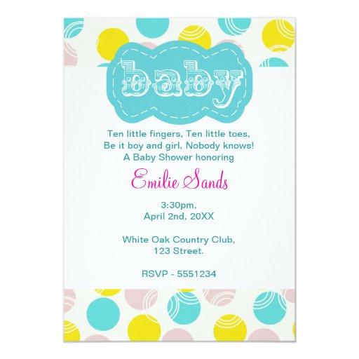 teal dotty gender neutral baby shower invitation zazzle