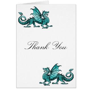 Teal Dragon Thank You Card