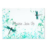 Teal Dragonflies Wedding Invitation