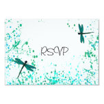 Teal Dragonflies Wedding Reception RSVP Personalized Invitation