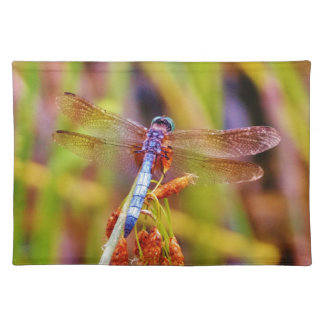 Teal Dragonfly on sedge Placemats