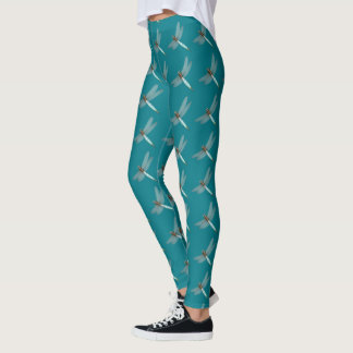 Teal Dragonfly Pattern Leggings