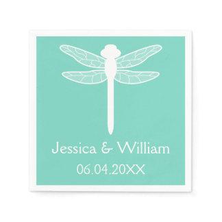 Teal Dragonfly Wedding Napkin