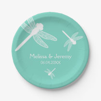 Teal Dragonfly Wedding Paper Plate