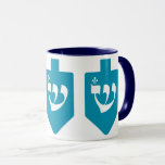 """Teal Dreidels: the Jewish Holiday of Hanukkah Mug<br><div class=""""desc"""">Cute and cheerful teal/turquoise dreidels with the Hebrew letter shin for the celebrations of the Jewish holiday of Hanukkah. Traditionally, during the holiday of Chanukah, children (and often adults) play a safe-hazard game with a dreidel (or sevivon in modern Hebrew). On the four walls there are the Hebrew letters Nun,...</div>"""