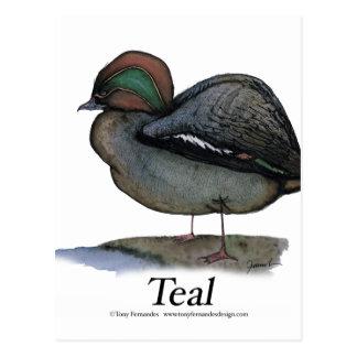 Teal duck, tony fernandes postcard