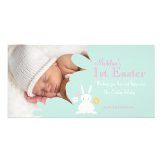 Teal Easter Bunny Photo Card