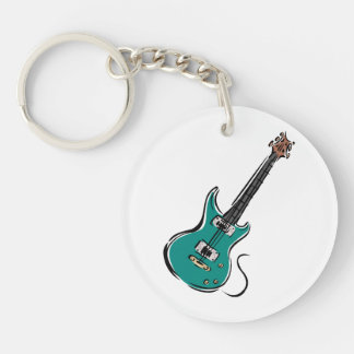 teal electric guitar music graphic.png keychain