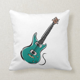 teal electric guitar music graphic.png pillow