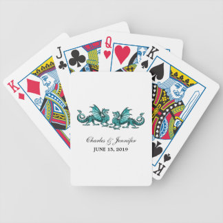 Teal Elegant Dragons Playing Cards