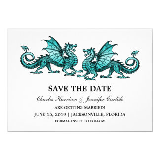 Teal Elegant Dragons Save the Date Invite