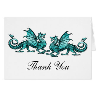 Teal Elegant Dragons Thank You Card Note Card