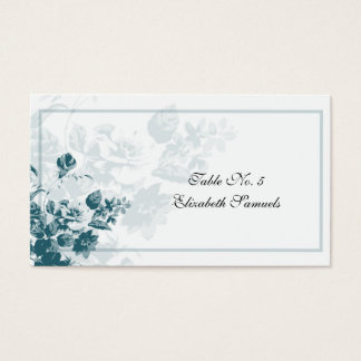 Teal Elegant Flower Wedding Table Placement Cards