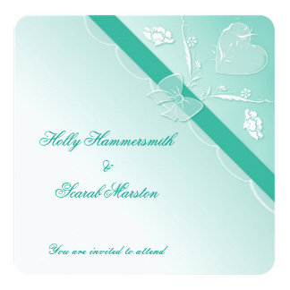 Teal Elegant Lace Square Wedding Invitation Card