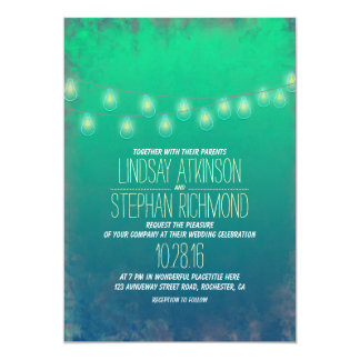 Teal Elegant String Lights Wedding Invitation