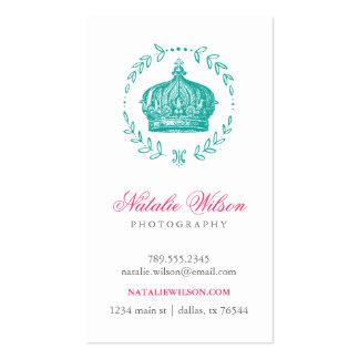 Teal Elegant Vintage Crown Vertical Double-Sided Standard Business Cards (Pack Of 100)