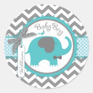 Teal Elephant Bow-tie Chevron Print Baby Shower Classic Round Sticker