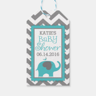 Bird gift tags zazzle teal elephant boy bird chevron baby shower gift tags negle Gallery