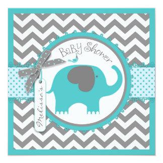 Teal Elephant Boy Chevron Print Baby Shower Card