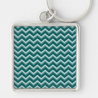 Teal Embossed Foil Silver-Colored Square Keychain