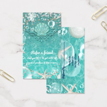 Beach Themed Teal Enchanted Sea Starfish & Bubbles Beach Refer Business Card