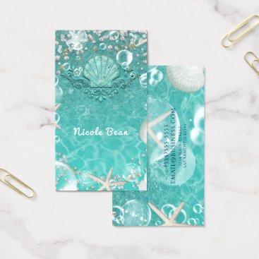 Beach Themed Teal Enchanted Sea Starfish & Bubbles Ocean Beach Business Card