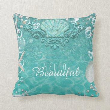 Beach Themed Teal Enchanted Sea Starfish & Bubbles Ocean Beach Throw Pillow