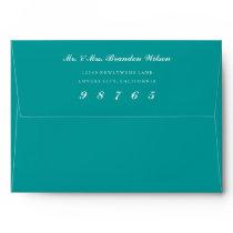Teal Envelope White Return Address