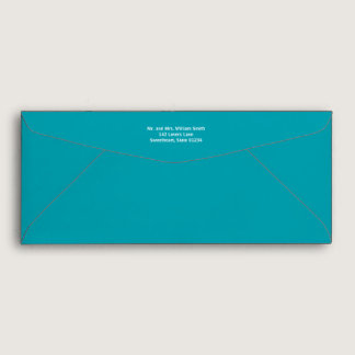 Teal Envelope with Return Address