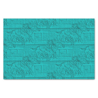 "Teal Etched Look Horse Racing Silhouette 10"" X 15"" Tissue Paper"