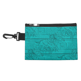 Teal Etched Look Horse Racing Silhouette Accessory Bag